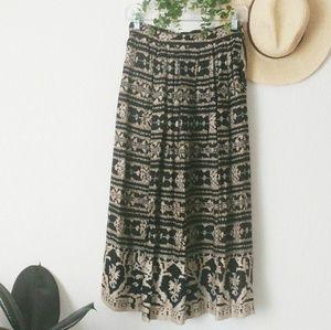 80-90s Vintage Boho Tribal Print Midi Skirt Small